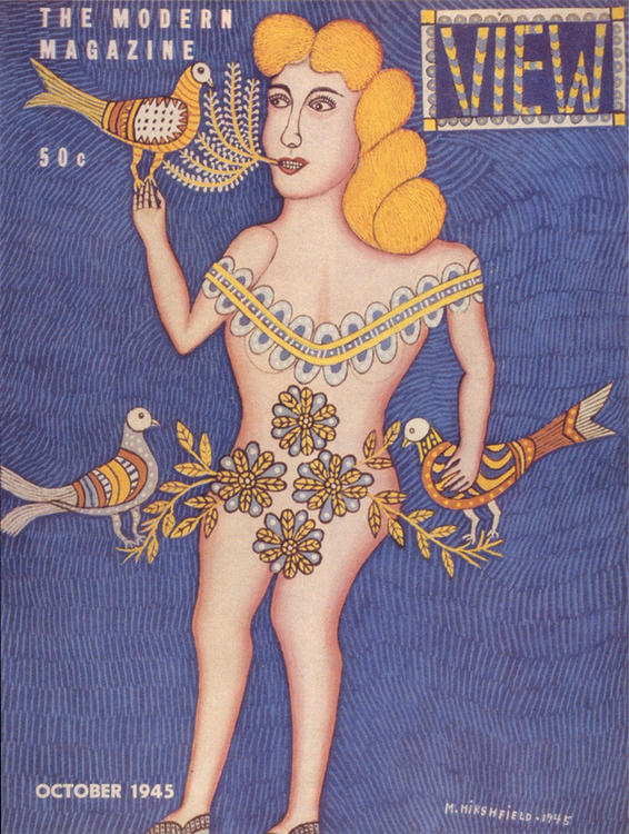 a magazine cover painted by artist Morris Hirshfield featuring a highly stylized voluptuous blonde nude woman