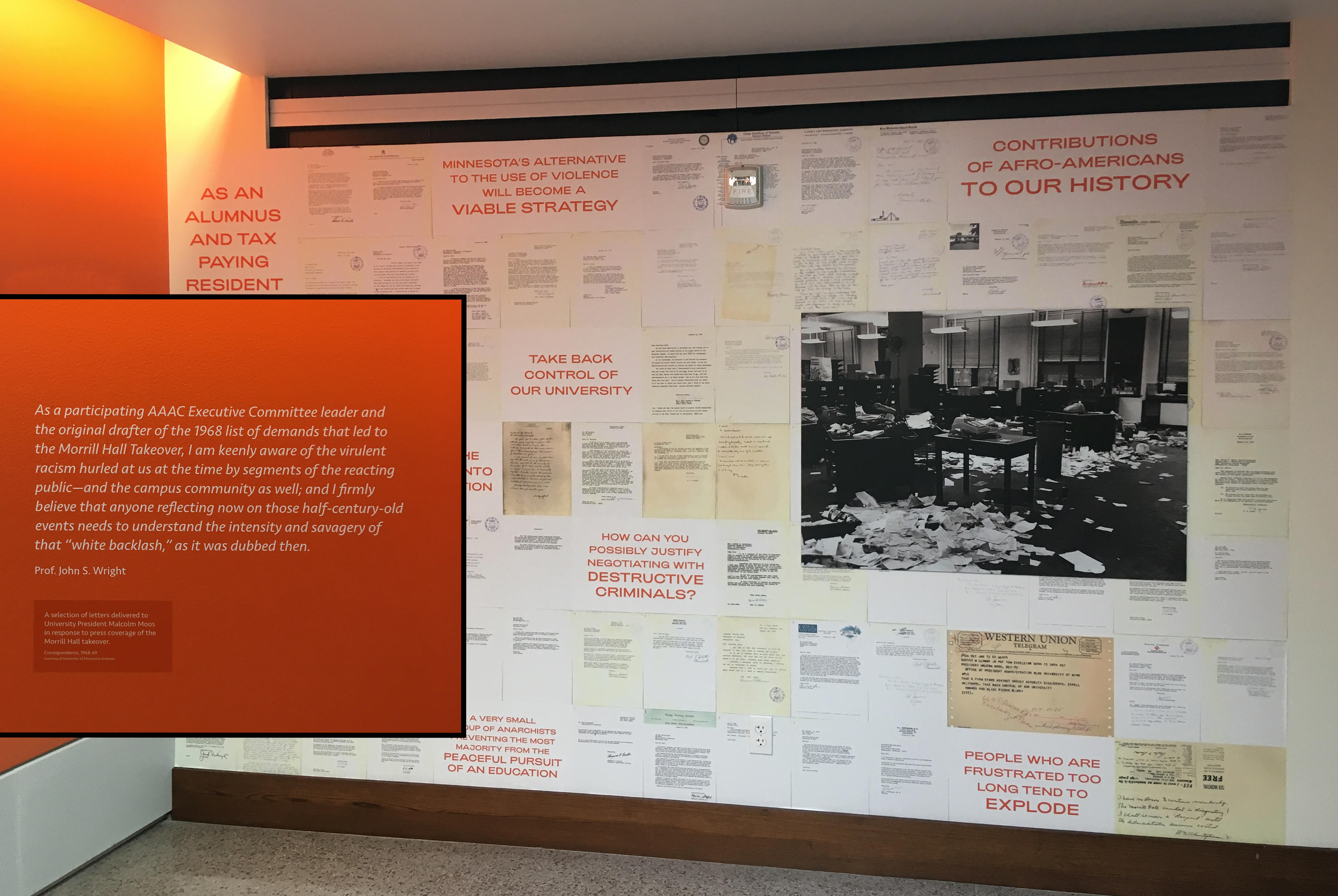 Takeover: Morrill Hall 1969 exhibit