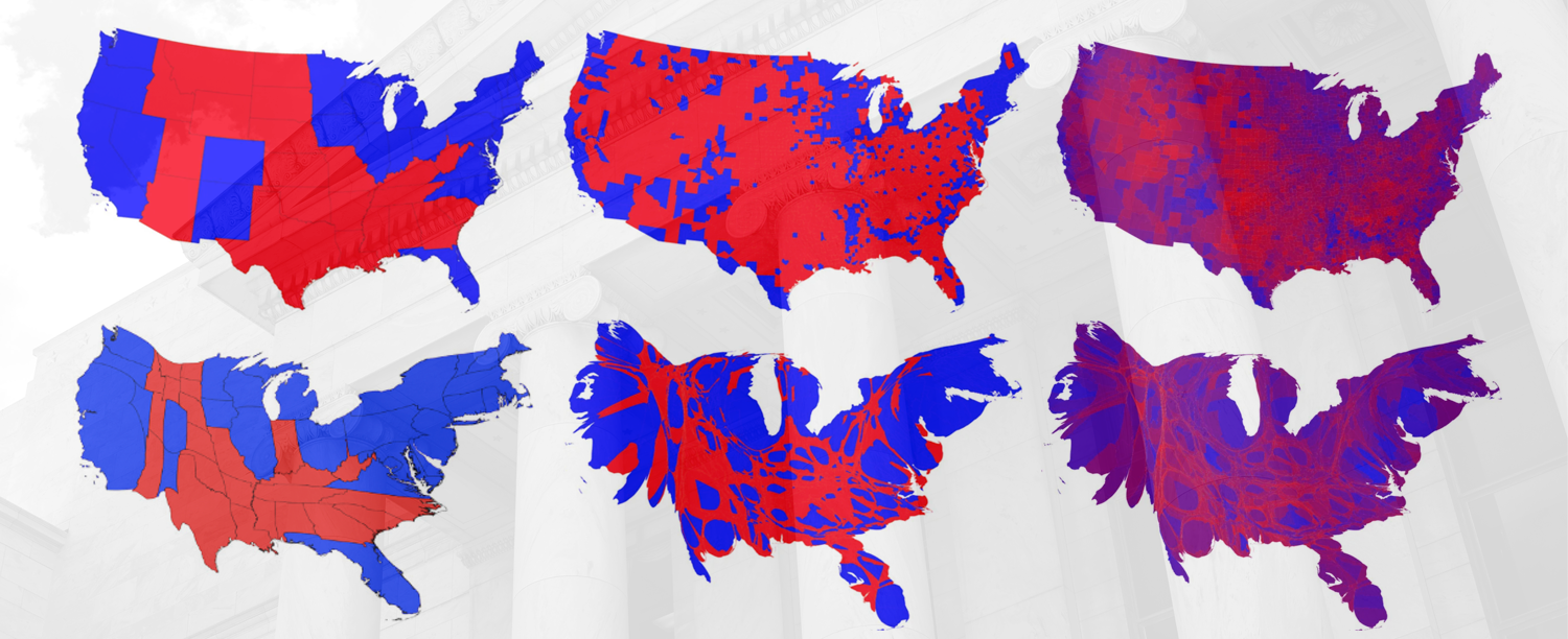 Six maps of the US showing alternative versions of 2016 presidential election data