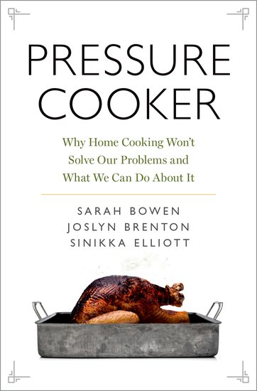 an image of the cover of the book PRESSURE COOKER featuring a photograph of a roast turkey in a pan.
