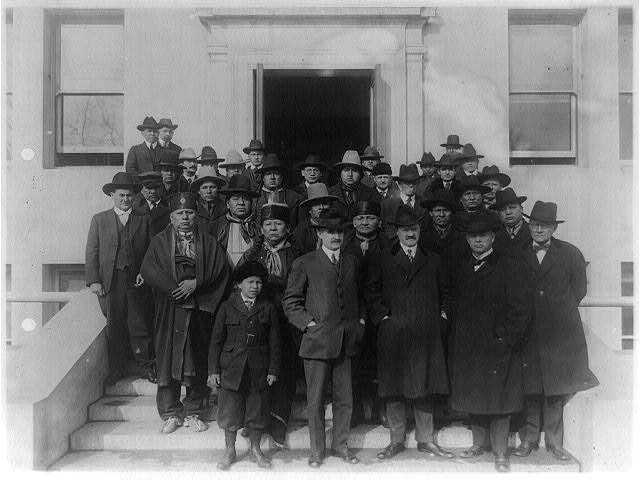 Osage Council signing treaty in Washington in 1909.