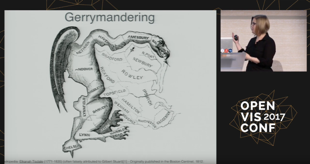 a still image from a video presentation with a large 19th-century political cartoon illustrating the dangers of gerrymandering