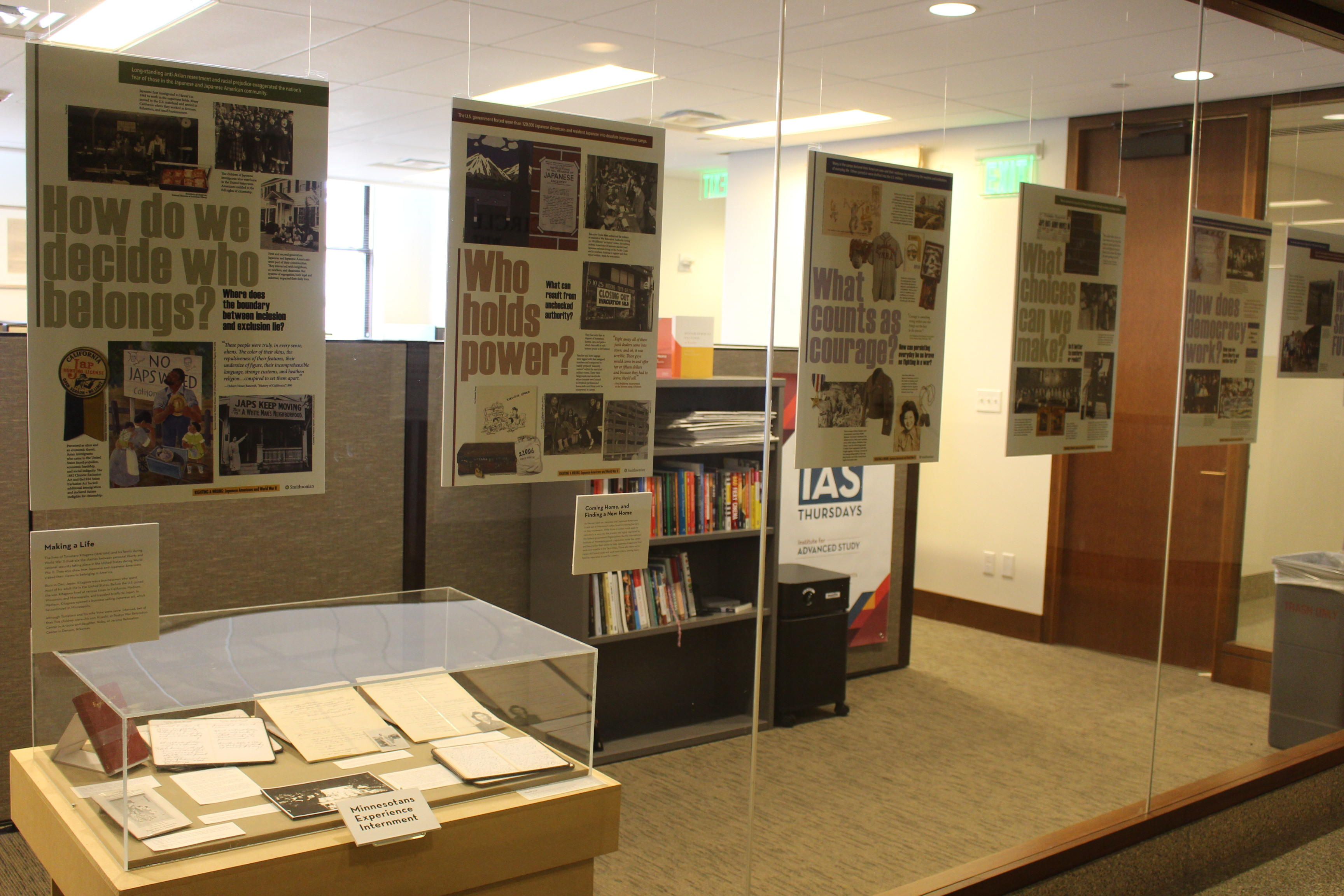 Righting a Wrong poster exhibit image with supplemental archival materials.