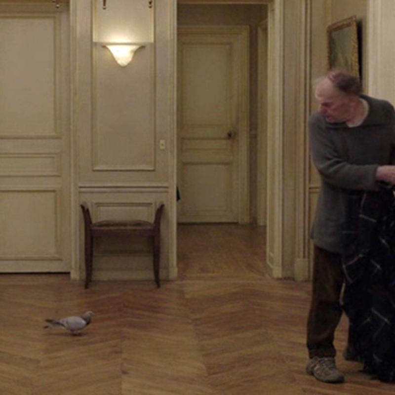 "a still image from Michael Haneke's film ""Amour,"" an older man standing in a wood-paneled entryway looking at a pigeon on the floor"