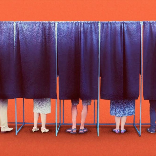 Image Description: People in voting booths