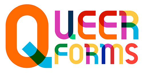 "a graphic reading ""QUEER FORMS"" in a multitude of colors"
