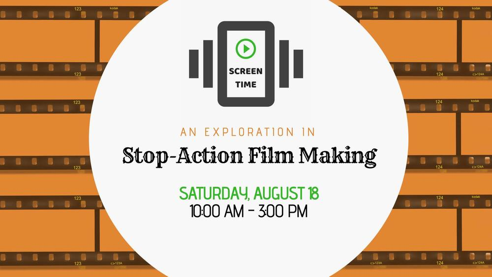 A text poster advertising a stop-motion animation workshop